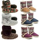 Ladies Slipper Ankle Boots Suede Fur Lined Warm Thermal Slip On Shoes Booties