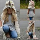 Girl's Unicorn Hooded Scarf Earflap Cap Warm Knitted Hat Cap Daughter Xmas Gifts