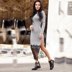 Womens Long Sleeve Lace Hem Bodycon Maxi Split Dress Party Slim Long Dress GIFT