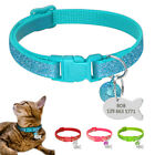 Personalized Bling Sequins Cat Dog Collars with Bell Fish ID Tag Engraved Name