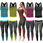 Womens Ladies Fitness Gym Jog Set Sports Exercise Jogging Vest Top Leggings