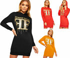 Womens Hood Long Sleeve Femme Fatal Glitter Slogan Print Sweatshirt Ladies Dress