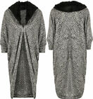 Womens Knitted Faux Fur Collar Long Batwing Sleeve Cape Jacket Ladies Cardigan