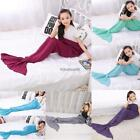 Kids Soft Mermaid Tail Blanket Knitted Crochet Sleeping Blanket Bed Sofa C5