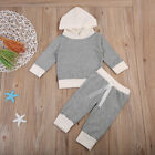 Kid Newborn Baby Boy Girl Gray Hooded Top Long Leggings Pant 2pcs Outfit Clothes