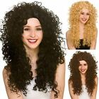 Adults Long Curly Wig Fancy Dress 80s Big Hair Halloween Disco Soft Perm