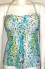 LADIES TANKINI TOP BANDEAU NEW M&S REMOVABLE HALTER STRAP TURQUOISE MIX SIZE 14
