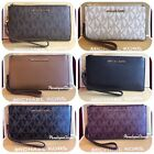 NWT MICHAEL KORS LEATHER OR PVC JET SET TRAVEL DOUBLE ZIP WALLET IN VARIOUS