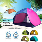Pop Up 3-4 Person Portable UV Shelter Shade Outdoor Camping Hiking Beach Tent