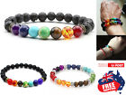 Chakra Bracelet Healing Lava Stone 7 Bead Natural Oil Diffuser Aromatherapy 1pc
