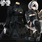 Hot NieR:Automata 2B Black Dress Cosplay Costume Set With Glove Eyepatch  Socks