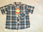 NEW***Quality Toddler Boys Short Sleeve Check Shirt/Top***Black Blue***Size 3