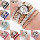 US Stock Women's Fashion Stainless Steel Bling Rhinestone Bracelet Wrist Watch