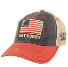 "Stages West ""Not Sorry"" Flag Trucker Cap w/Stages West Logo - Navy/Scarlet"