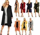 New Womens Open Belted Coat Ladies Celebrity Waterfall Draped Trench Long Jacket