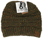 CC Women's Flecked Messy Bun Beanie - Army Green