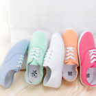 New Womens Girls Casual Canvas Shoes Slip On Round Toe Sneakers Flat Pump Shoes