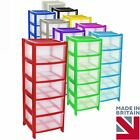 Simpa® 4 Drawer Plastic Storage Drawers Unit with Wheels 38.5 x 39 x 104.2cm