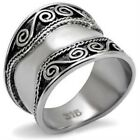 New Stainless Steel Wide Bali Band Ring - Sizes 5-10