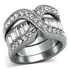 Dazzling New 2 Piece Stainless Steel Crystal Wedding Band Set  - Sizes 5-10
