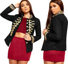 Womens Gold Button Embellished Long Sleeve Cropped Blazer Ladies Military Jacket