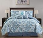 New Blue White Paisley Comforter 100% Cotton Sheets 11 pcs C