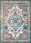 Blue Traditional-European Southwestern Medallion Area Rug Bordered 1830-30262