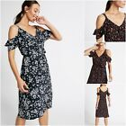 NEW M&S COLD SHOULDER SUN DRESS WRAP DITSY FLORAL NAVY WHITE BLACK PINK 8 - 22