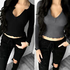 Ladies Fashion Sexy V Neck Crop Tops Casual Blouse Long Sleeve Lady Slim T-Shirt