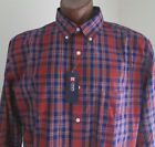 NWT Chaps Button Down Casual Shirt Easy Care Red/Blue Plaid Size XL