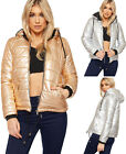 Womens Metallic Padded Cropped Short Hooded Jacket Ladies Long Sleeve Puffa Coat
