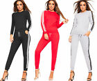 Womens Long Sleeve Striped Sweatshirt Jogging Bottoms Ladies Lounge Tracksuit