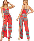 Womens Strappy Sleeveless Paisley Print Split Leg Jumpsuit Ladies Belted Flared