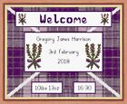 "Purple Heather Scottish Tartan Baby Birth Sampler, Cross Stitch Kit 10""x8"" 14 ct"