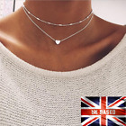 necklace double layer heart chain hot multilayer choker pendant  gold silver UK <br/> Top Quality*Free bag+Gift For You *Fast Delivery RM*