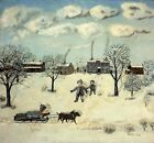 """John Kane """"Winter"""" abstract children playing in snow sledge CANVAS or PAPER"""
