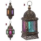 PAIR of Hanging Moroccan Candle Lanterns Coloured Glass VARIOUS - Indoor/Outdoor