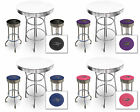 FC549 IGUANA LIZARD THEME 3 PIECE BAR TABLE SET WHITE TOP & 2 CHROME BAR STOOLS