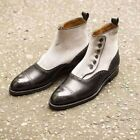 Handmade Men two toned button boots, Men ankle boots, Mens fashion style boots