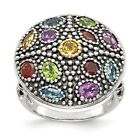 Sterling Silver w/14k Gold Antiqued Multi Gemstone Ring
