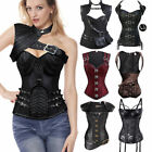 WOMEN BLACK PUNK WOMEN BONED WAIST TRAINING CORSET OVERBUST BUSTIER TOP SHAPER