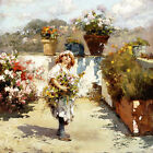 VINCENZO IROLLI Young Girl Gathering Flowers in the Sunshine colourful CANVAS!