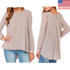 US Summer Womens Pullover Long Sleeve T-Shirts Loose Chiffon Blouse Drape Tops
