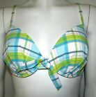 NEW BIKINI TOP UNDERWIRED PLUNGE CHECK MARKS & SPENCER GREEN WHITE MIX