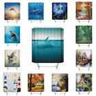 Print Decor Waterproof 3D Polyester Fabric Bathroom Shower Curtain Decor 12Hooks