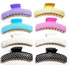 LADIES SQUARE WIDE DIAMANTE HAIR CLAMP CLAW GRIP BUTTERFLY CLAMP CLIP