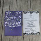 Cut out purple Pocket fold Wedding Invitation cards. DIY pocket Party invites