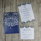 50-Laer cut Blue Pocket fold Wedding Invitation cards. DIY pocket Party invites
