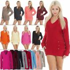 New Womens 14 Button V Neck Knitted Jumper Casual Ladies Dress Size UK S M L XL