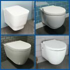 Bathroom Wall Hung Toilet Pan Round WC  Soft Close Toilet Seat Modern White